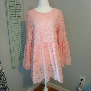 NWT LUMIE NORDSTROM PINK EYELET TUNIC TOP